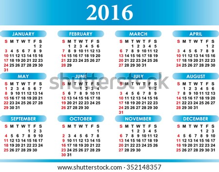 Calendar for 2016 in English