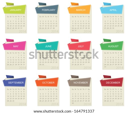 calendar for 2014 in square design with tabs isolated on white, eps 10 format.