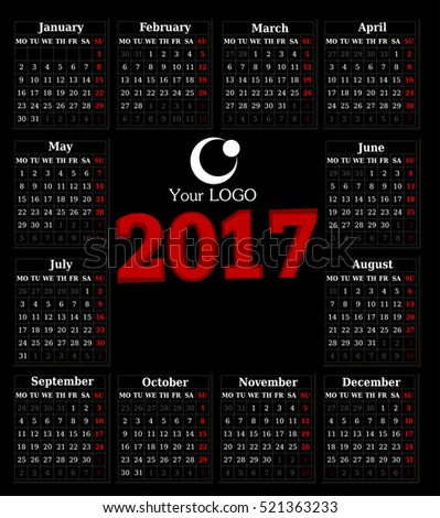 Calendar for 2017 on black background. Vector EPS10.