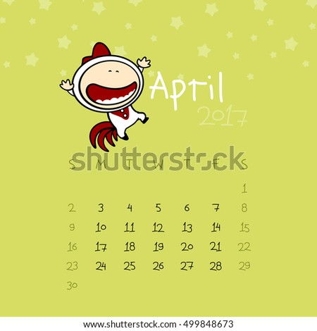 Calendar for the year 2017 - April