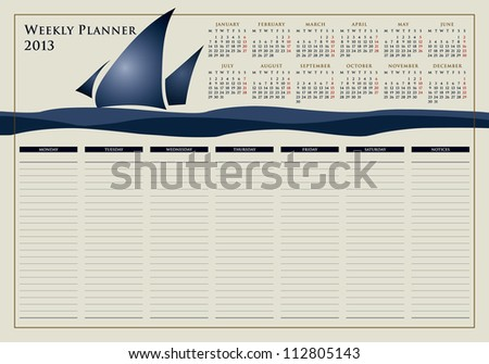 calendar for 2013, weekly planner, doodle, sail