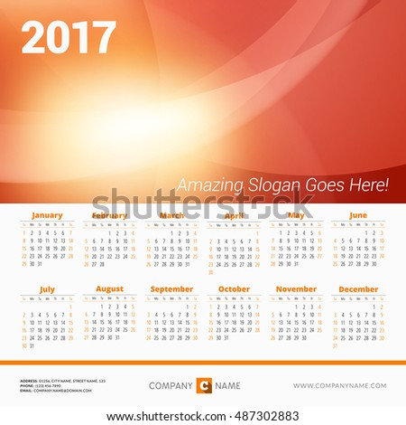 Calendar for 2017 Year. Vector Design Print Template with Abstract Wave Background, Company Logo and Contact Information. Week Starts Sunday