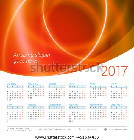 Calendar for 2017 year. Vector design stationery template. Week starts Monday. Flat style color vector illustration. Yearly calendar template