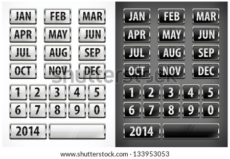 calendar grid with numbers and months for designers. Vector Illustration.
