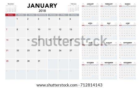 Calendar 2017 Template Design Week Starts Stock Vector 521070859 ...