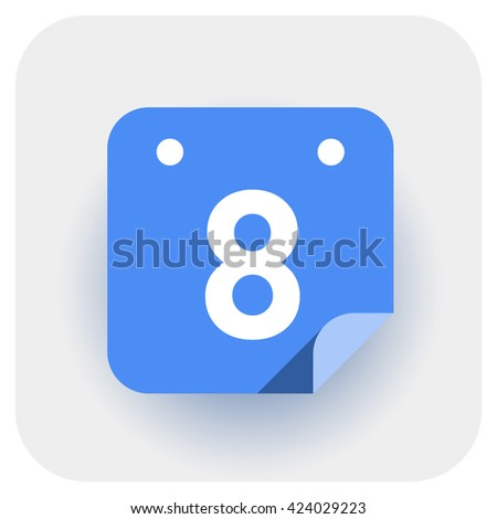 Calendar icon vector. Simple daily calendar with folded edge, date 8.