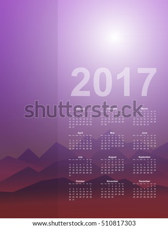 Calendar page, 2017 year, vector template. Week starts at Monday. Poster with mountain background