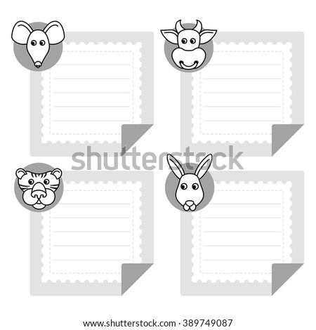 Calendar Template Eastern Horoscope Note Papers Stock Vector