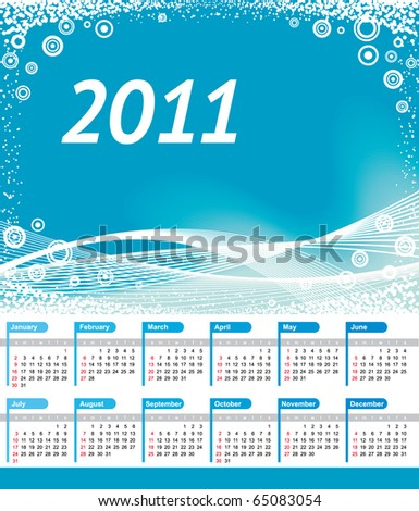 Calendar 2011 with blue wave background