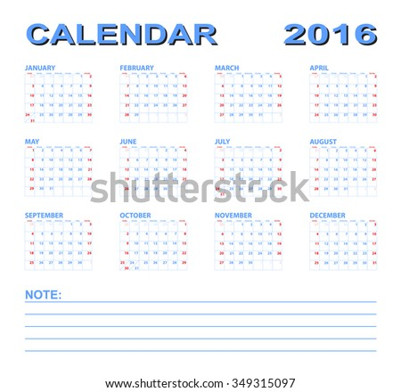 Calendar 2016 yearly plan vector illustration