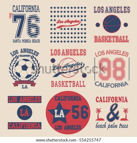 Tshirt Graphic Design Los Angeles Emblem Stock