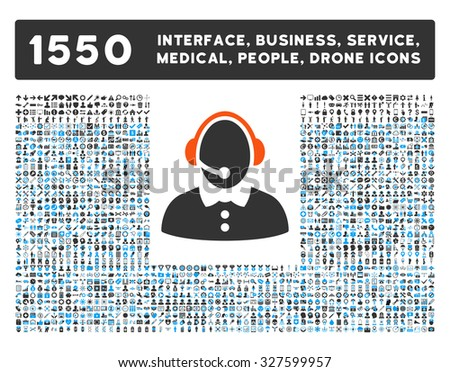 Call Center Woman and other web interface, business tools, people poses, medical service vector icons. Style is flat symbols, bicolored, rounded angles, white background.