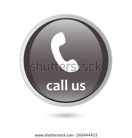 Call Us Icon Phone Sign Black Glossy Button