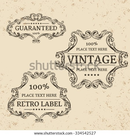 calligraphic design elements: page decoration, Guarantee Label, antique and baroque frames | vintage