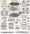 Calligraphic design elements, page decoration, retro labels and frames set for vintage design | Old paper grunge texture - stock vector