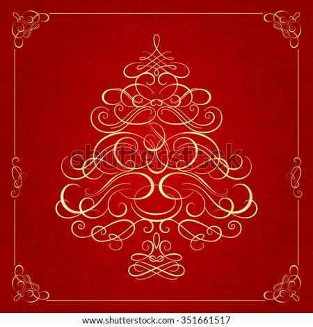Calligraphy Christmas tree on red background. Vector illustration
