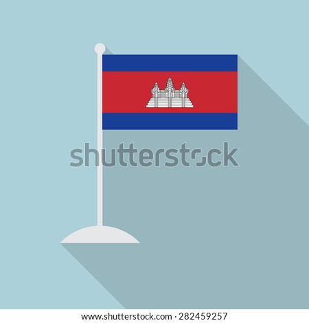 Cambodia flag with flagpole flat icon with long shadow. Vector illustration EPS10