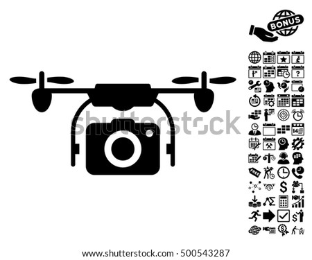 Camera Drone Pictograph With Bonus Calendar And Time Management Clip Art Vector Illustration Style Is