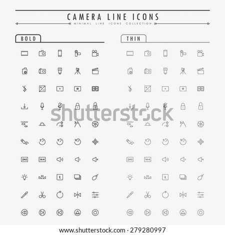 camera minimal line icons on bold and thin line concept vector
