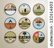 Camping and nature vector labels set. - stock photo