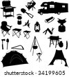 camping equipment silhouettes - vector - stock vector