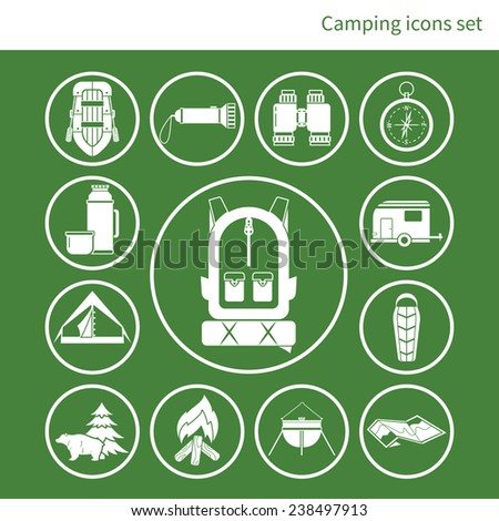 Camping icons set, made in flat design