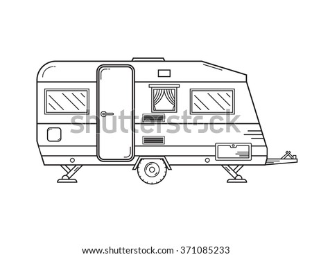 Camping Trailer Family Caravan Traveler Truck Camper Outline Icon In Thin Line Design Vector