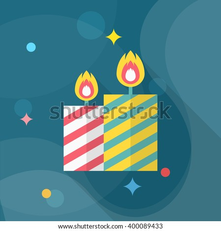 Candle icon , Vector flat long shadow design.