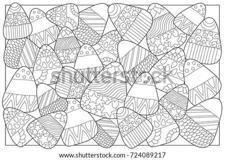 Candy Corn Sweets Vector Coloring Page With Ornament Halloween