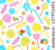 Candy party celebration, seamless pattern background - stock vector