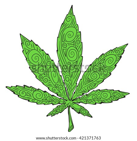 Cannabis plants hand drawn vector stock vector 421373905 for Weed leaf template