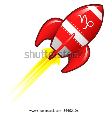 Capricorn zodiac astrology sign on on red retro rocket ship illustration