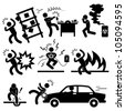 Car Accident Explosion Electrocuted Fire Danger Icon Symbol Sign Pictogram - stock vector