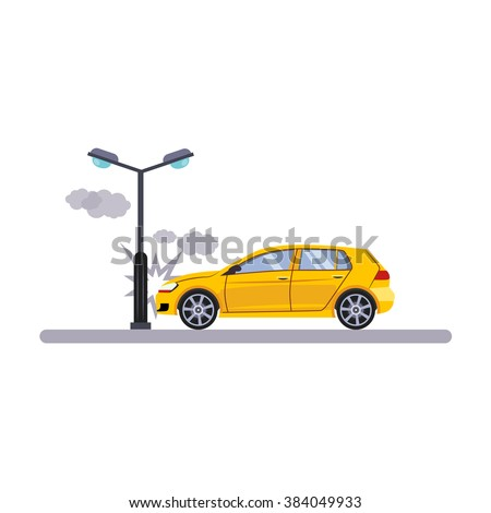 Car and Transportation Issue with a Lamp. Flat Vector Illustration
