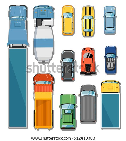 Realistic Cars Trucks Top View Set Stock Vector 311346878