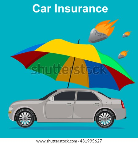 car insurance concept, umbrella with meteor, vector illustration