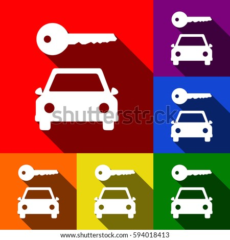 Car insurance services. Business hands holding red car. Vector