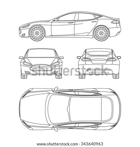 car line art all view four stock vector 362605358 shutterstock. Black Bedroom Furniture Sets. Home Design Ideas