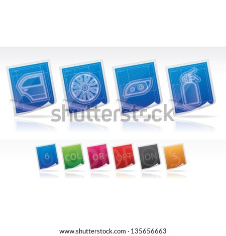 Car parts accessories left right car vectores en stock 206970955 car parts and accessories blueprint style from left to right car door malvernweather Images