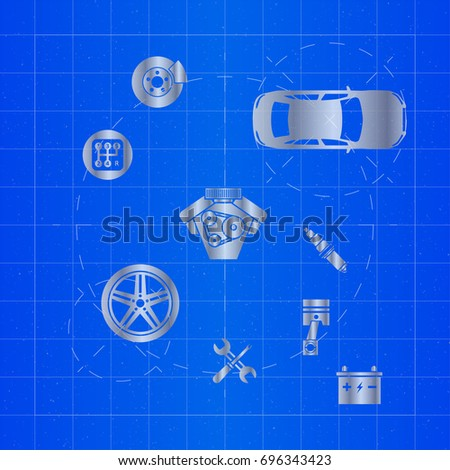 Design electric car drawing on blueprint stock vector 709001878 car parts on blueprint malvernweather Gallery