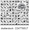Car parts, tools and accessories. Eighty four icons and one image of a vintage car. Vector illustration on the white background - stock photo