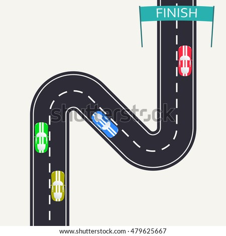 Red Racing Car Crossing Finish Line Stock Vector