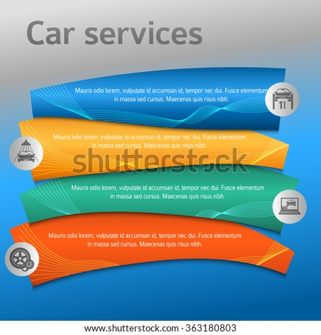 Car service business presentation template on steel background. Vector illustration EPS 10 for info-graphics, number options, web site, page layout firm automobile repair
