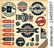 Car service icons. Auto parts. Rent a car. Car wash. Retro vintage car labels set. - stock vector