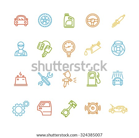 Car Service Outline Colorful Icons Set. Vector illustration