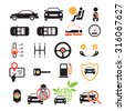 Car Specification and Performance Objects icons Set, Black ad white with Color, Automobile Function and Option - stock photo