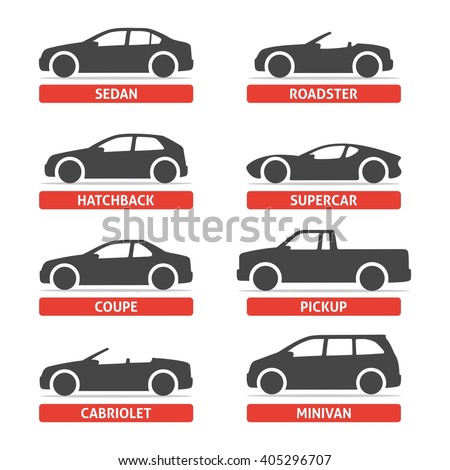 car type and model objects icons set automobile vector black illustration isolated on white