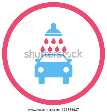 Car Wash vector icon. Style is bicolor flat rounded iconic symbol, car wash icon is drawn with pink and blue colors on a white background.