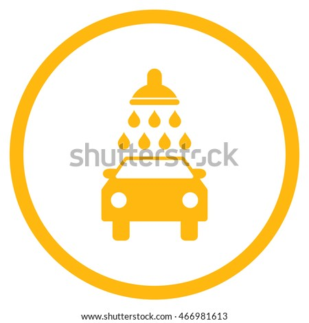 Car Wash vector icon. Style is flat rounded iconic symbol, car wash icon is drawn with yellow color on a white background.