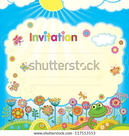 Card - invitation. Illustration in a children's style.